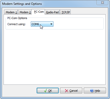 Change Wintex to use COM6